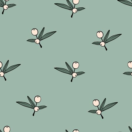 Berry branch seamless pattern. Texture with sketch hand drawn berries on green. Modern and original textile, wrapping paper, wall art design. Floral simple minimalistic graphic design. Outline vector  イラスト・ベクター素材