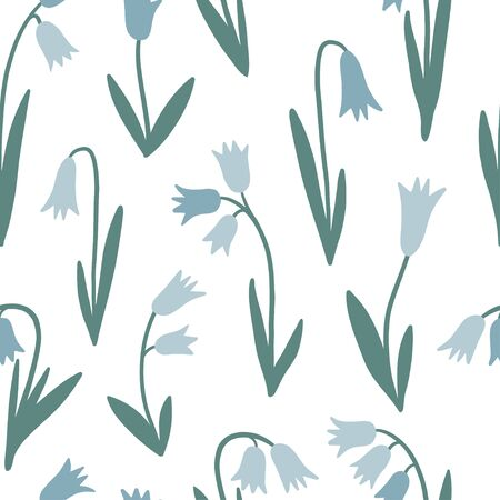 Floral simple seamless pattern, spring or summer graphic design for paper, textile print, page fill. Blue flower background. Hand drawn modern and original textile, wrapping paper, wall art design