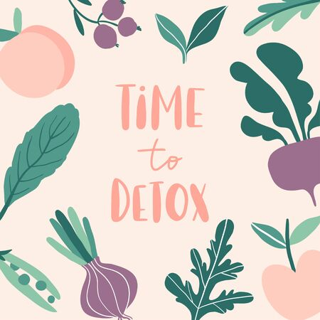 Time to detox. Concept with summer fruits and vegetables: onion, apple, beetroot, pea, salad, peach. Flat style design for banner, card, poster. Composition for vegan menu, healthy food bar. Vector