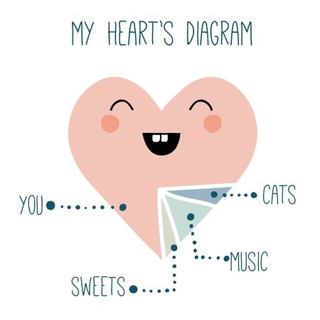 Funny print with cute heart diagram. Cartoon heart shape with face. Lovely illustration for Valentines day or wedding.  イラスト・ベクター素材