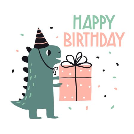 Happy birthday. Lovely vector illustration with funny dinosaur and gift. Hand drawn print, greeting card or poster for children room decoration. Flat cartoon  dinosaur character and lettering