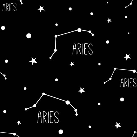 Aries. Seamless pattern with astrology sign. Night sky with stars and constellations. Hand drawn astrological vector background.