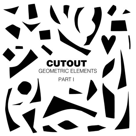 Cutout shapes set. Black on white. Geometric abstract silhouettes. Minimalistic simple collection