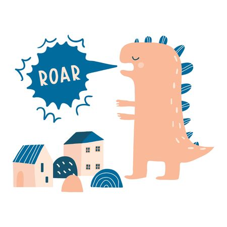 Dino roar. Cartoon monster dinosaur destroying houses, city, town. Cute and funny vector illustration. Wild big animal. Hand drawn print, card or poster.