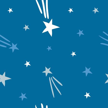 Cute Space Vector Seamless Pattern. Stars and comets on dark blue sky. Cute funny background for Children textile, fabric, paper. Hand drawn vector simple cosmic illustration for Kids  イラスト・ベクター素材