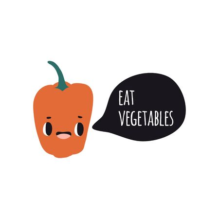 Eat vegetables. Print with pepper. Cute cartoon smile vegetable characters. Colorful design for cards, banners, printed materials. Cute doodle style emoticons.
