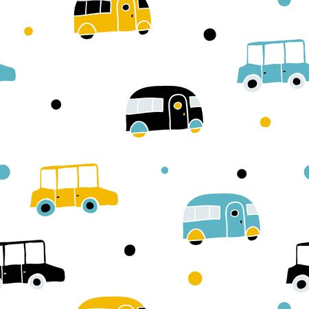 Children vector seamless pattern with cars and dots. Flat style. Transport pattern for boys, kids. Background for web site, nursery design, packing, textile, fabric, paper. Cute toy vehicle