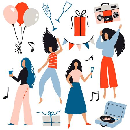 Party set. Girls celebrating, dancing. Gift, balloon and music. Vector flat design. New Year, Birthday event, club or concert. Fun female characters. Joyful emotions. Cartoon style happy woman  イラスト・ベクター素材