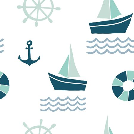 Seamless pattern with nautical design elements: anchor, boat, lifebuoy, waves. Cute sea objects background. Hand drawn vector illustration..