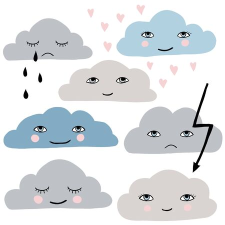 Cute cartoon clouds set. Funny illustration for kids  イラスト・ベクター素材