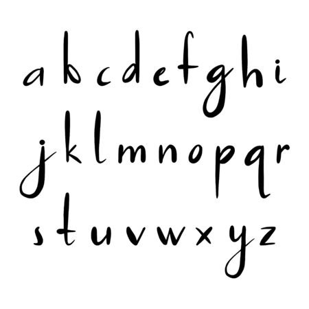 Vector alphabet. Hand drawn letters. Letters of the alphabet. Script font. Isolated letters written with marker, ink. Calligraphy, lettering.