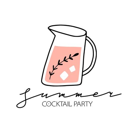 Set of hand drawn fresh cocktails, alcohol drinks. Summer holiday and beach party concept. Hand drawn cute vector illustration. Party poster, banner, invitation, flyer, card template