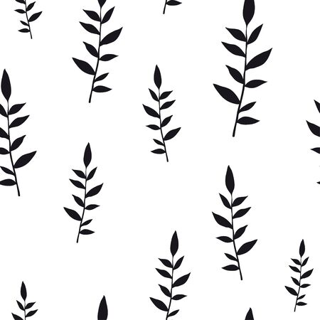 Black on white hand drawn leaves. Vector seamless minimalistic pattern. Endless pattern for wallpaper, pattern fills, web page background, surface textures. Hand drawn, botany