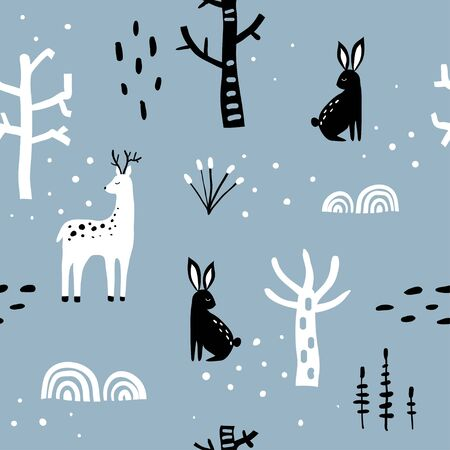 Winter forest seamless pattern. Blue, black and white texture with deer, hare, plants and snow trees. Cute hand drawn cartoon background for textile, covers, package, wrapping paper