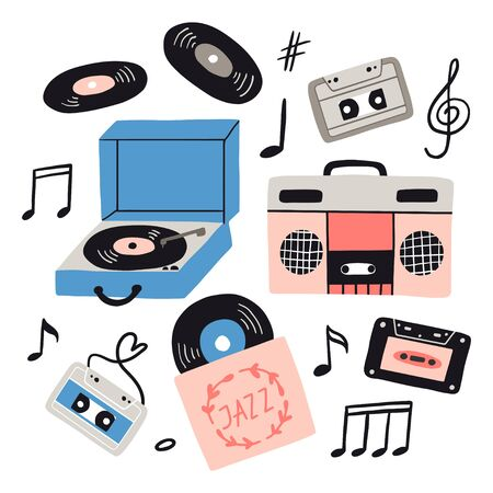 Music items doodle set. Hand drawn musical equipment, headphones, audio, cassette, vinyl record, record player, notes. Musical vector illustrations flat icons and elements.