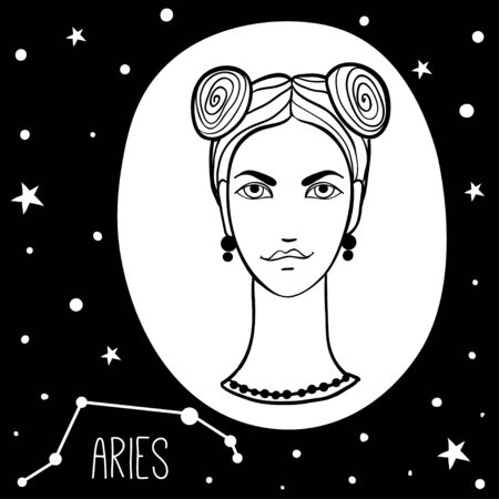 Aries. Woman with astrology sign. Stars, astrological, constellation, beauty, female. Hand drawn vector illustration of the girl. Sketch style, black and white