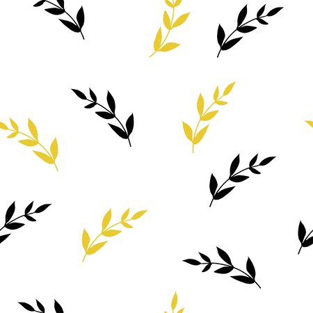 Floral seamless pattern with leaves. Flower simple minimalistic vector illustration. Yellow and black flowers for textile design, wallpapers and wrapping paper