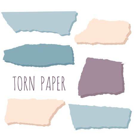 Pieces of torn colorful paper with shadows. Flat vector illustration. Set of collage elements