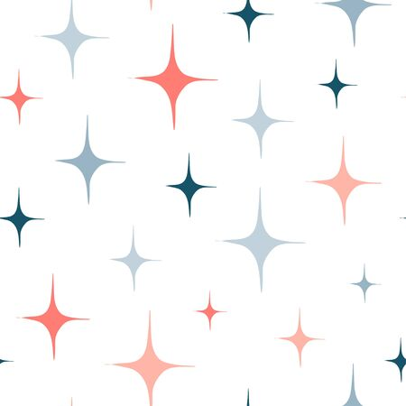 Seamless pattern with hand drawn star burst or sparkles. Blue and pink abstract shapes. Sky doodle design. Simple geometric texture for modern textile, wrapping paper, wall art design