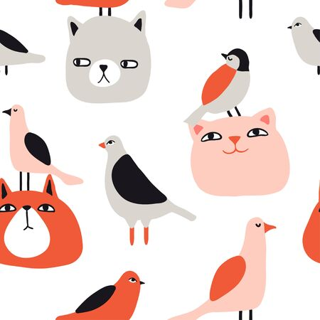 Funny cats and birds seamless pattern. Pet vector illustration. Cartoon doodle animals background. Cute kitten design for girls, kids. Hand drawn childrens pattern for fashion clothes, shirt, fabric  イラスト・ベクター素材