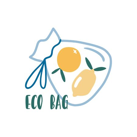 Eco bag. Cute zero waste poster, print or card. Hand drawn eco life illustration. Flat vector illustration. Doodle reusable textile shopping bag with fruits. Go green, no plastic, save the planet.