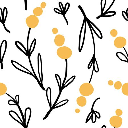 Seamless pattern with abstract yellow flowers and leaves. Modern and original textile, wrapping paper, wall art design.Vector illustration  イラスト・ベクター素材