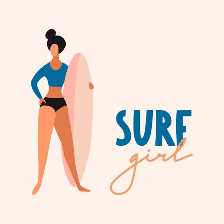 Surfer girl with board. Cute cartoon flat people in vector. Beach summer travel lifestyle illustration for card, print or poster. Sport fitness concept. Young woman characters  イラスト・ベクター素材