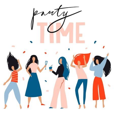 Party time card, poster. Girls celebrating, dancing. Vector flat design. New Year, Birthday event, club or music concert. Fun female characters. Joyful emotions. Woman illustration in cartoon style  イラスト・ベクター素材