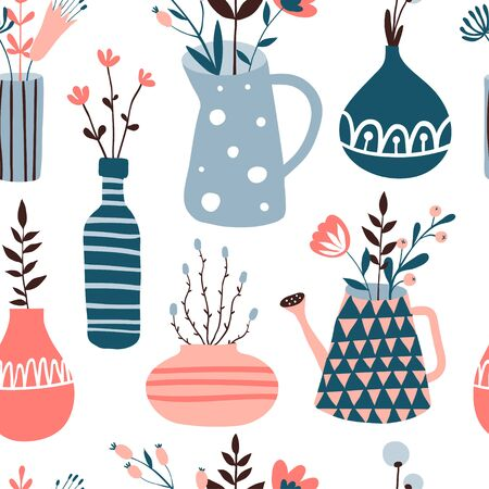 Seamless pattern with cute flower pots and vases. Doodle floral illustration. Spring background with cute hand drawn flowers and home plants. Interior, home decor. Vector. Isolated
