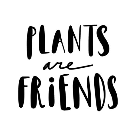 Plants are friends. Cute lettering, hand written text. Calligraphy illustration about flowers, nature. Black text isolated on white. Brush ink phrase for photo overlays, cards, t-shirt prints, posters