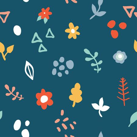 Simple minimalistic seamless pattern with flowers and abstract shapes on dark background. Hand drawn design for paper, textile print, page fill. Cute design for girls, kids