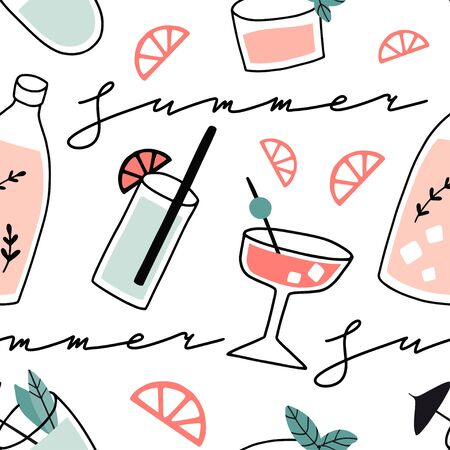 Fresh cocktails seamless pattern. Background with alcohol drinks. Summer holiday and beach party concept. Hand drawn cute vector illustration. Texture for party wrapping paper, texture, fabric.