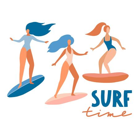Surfer girls on boards catching waves in the sea. Cute cartoon flat people in vector. Beach summer travel lifestyle set for card, print or poster. Sport fitness concept. Young woman characters  イラスト・ベクター素材