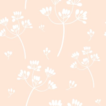 White on pink flowers. Vector seamless pattern. Hand drawn plants for modern and original textile, paper, fabric. Pastel color floral simple minimalist design. Sketch style botany illustration