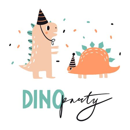 Dino party. Lovely vector illustration with funny dinosaur in hats. Hand drawn print, greeting card or poster for children room decoration. Flat cartoon dino character and lettering
