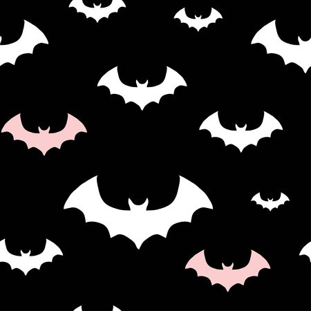 Halloween pattern with white and pink bats on black background. Simple minimalistic with bat silhouettes. Cute hand drawn texture for kids textile, fabric, nursery wallpaper.  イラスト・ベクター素材