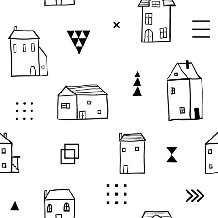 Scandinavian seamless pattern. Simple black and white houses and geometric shapes. Minimalist European houses. Cartoon illustration. Stylized city. Street. Cottages. City landscape. Hand drawn.  イラスト・ベクター素材