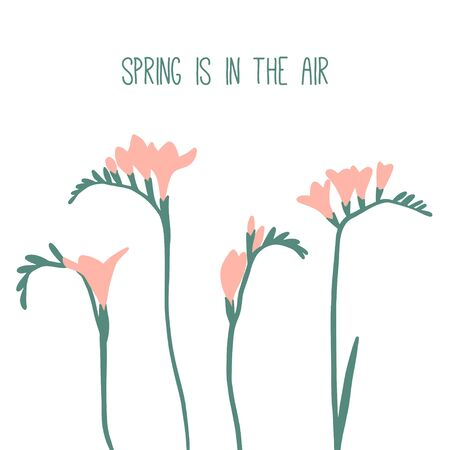 Spring is in the air. Card or poster with spring or summer flowers. Floral vector collection. Hand drawn simple graphic design. Modern and original elements. Garden. Botany illustration  イラスト・ベクター素材