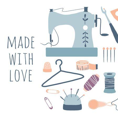 Mit Liebe gemacht. Hobby-Tools-Poster. Handgemachte Kit Icons Set: Nähen, Handarbeiten. Kunsthandwerk handgezeichnete Skizzenzubehör, Werkzeuge, Design für Karten, Druck, Banner