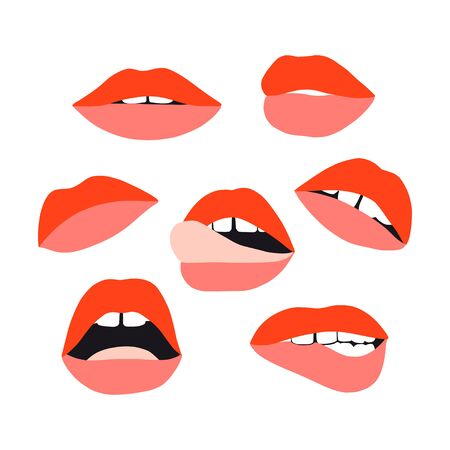 Womans lip set. Girl mouths with red lipstick makeup expressing different emotions. Sexy mouth kissing. Vector collection for valentines day. Hand drawn set. Female beautiful illustration