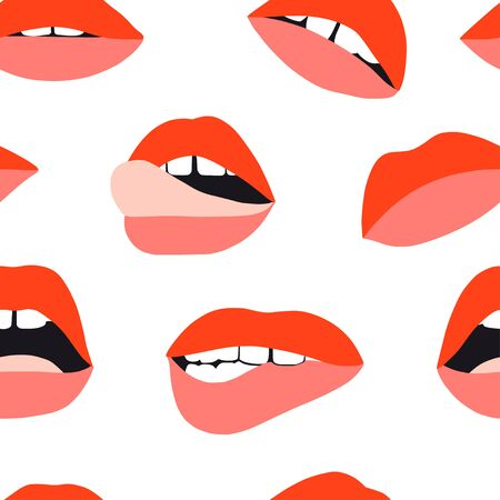 Womans lip pattern. Girl mouths with red lipstick makeup expressing different emotions. Sexy mouth kissing. Vector texture for valentines day. Hand drawn female beautiful illustration