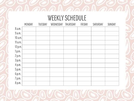 Weekly Schedule Planer Template. Vector. Hand drawn doodle texture. Abstract shapes. Universal stationery Organizer with timing. Printable. Notes and to do list.