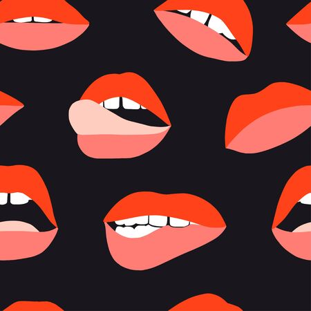 Womans lip seamless pattern. Girl mouths with red lipstick makeup expressing different emotions. Sexy mouth kissing. Vector texture for valentines day. Hand drawn female beautiful illustration