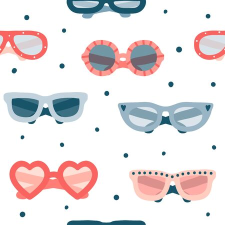 Colorful summer glasses seamless pattern. Flat vector fashion illustration. Different hand drawn glasses types hipster, retro, vintage, modern, classic. Cute texture with accessories