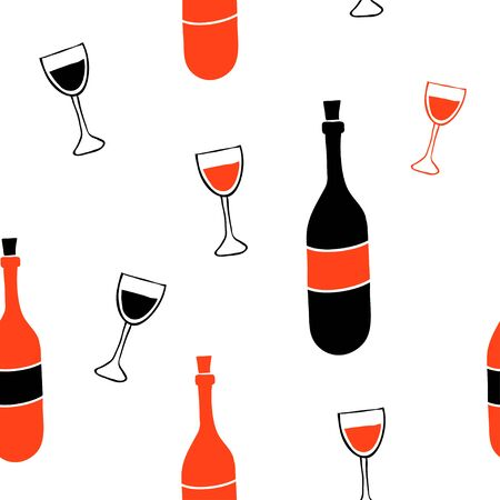 Wine and glass seamless pattern. Sketch style hand drawn illustration.