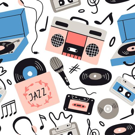 Music items doodle seamless pattern. Hand drawn flat musical equipment, headphones, audio, cassette, vinyl record, record player, notes. Musical vector texture for textile, fabric, paper