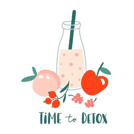 Time to detox. Smoothie or juice in jar with fruits, berries. Hand drawn glass bottle with summer cocktail. Concept for healthy food menu bar. Vegan, fresh and cold beverage. Cute flat vector design