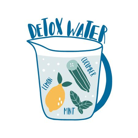 Detox water with ingredients: mint, lemon, cucumber. Hand drawn vector recipe card, print. Illustration with bottle and. Healthy drink. Natural organic food concept. Diet menu for cafe or restaurant Ilustracja