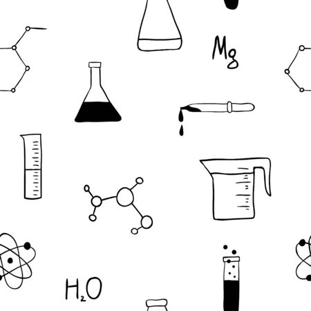 Hand Drawn Chemistry icons seamless pattern. Laboratory equipment. Doodle glass flasks, formulas for your design.