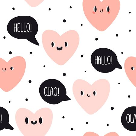 Cute emotion hearts with speech bubbles: hello, ciao, ola. Seamless pattern. Vector lovely emoticons. Doodle kawaii face, sweet and childlike manga cartoon style. Vector love texture valentine day